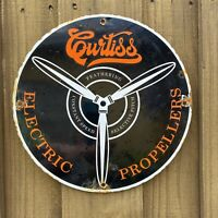 VINTAGE CURTISS ELECTRIC PROPELLERS PORCELAIN SIGN USA OIL GAS PUMP PETROLIANA
