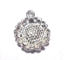 SMALL DETAILED 3D SUNFLOWER FLOWER CUTE PETALS STERLING SILVER 925 CHARM PENDANT
