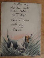 menu illustré - chien de chasse dans les herbes 1909 -