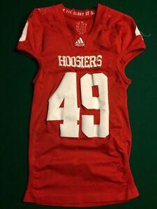 Indiana Hoosiers Game Worn Adidas TECHFIT Shockweb Red Football Jersey #49