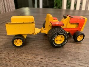 Vintage Tonka Garden Tractor With Trailer Orange And Yellow Metal