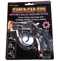 4 PIECES 38 SPECIAL BLACK PLASTIC 8 SHOT CAP GUN PISTOL boys play toy guns NEW