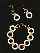 "Stainless Steel 18K Rose Gold Plated and ceramic Bracelet Earrings SET ""ROMA"""
