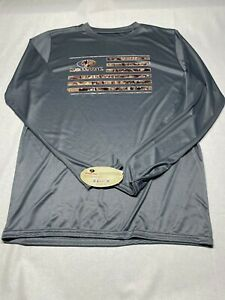 MOSSY OAK Gray Flag Men's Long Sleeve Polyester Shirt Large NEW W/ TAGS