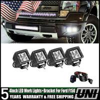 4x LED Fog Light w/ Bumper Mount Bracket Kit for 10-14 Ford F150 Raptor SVT