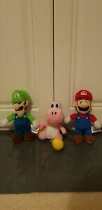 Super Mario Bros Nintendo Mario, Luigi, Pink Yoshi Soft Plush Toy Bundle