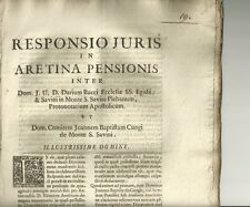 Monte S. Savino Responso su Dario Bucci Protonotario Apostolico 1714