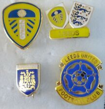 LEEDS UNITED FOOTBALL Pin Badges x 4 inc CREST & twinned with 3 LIONS Lot No2