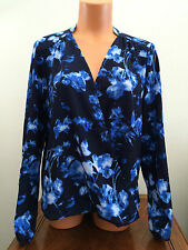 * * Vince Camuto Womens Medium M Blue Floral Wrap-Type Blouse Top Long Sleeve