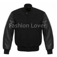 Varsity Premium Letterman Baseball Wool & Genuine Leather Sleeves Black jacket