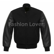 Varsity Premium Letterman Baseball Wool & Genuine Leather Sleeves Black jacket