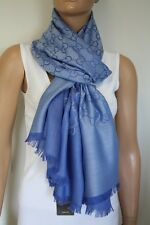 GUCCI Strickschal mit GG Jacquard-Muster 70x200 cm Wolle/Seide blau NEU