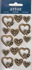 Gold Wedding Love Hearts Craft Embellishment | Hand Finished | 3D Sticker