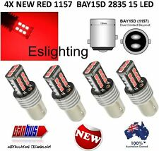 4 X BAY15D RED 15LED 2835 LED BRAKE STOP TAIL LIGHT BULB GLOBE 12V LIGHT UTE 4WD