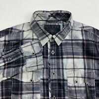 Guess Button Up Shirt Men's Small Long Sleeve Multi Plaid Regular Fit Casual