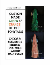 Custom Made Green or Orange Helmet Ponytails~ Motorcycle Bike ATV ~25% More Hair