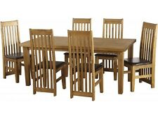 Tortilla 6 Seater Dining Set With Brown PU Chairs - Next Day Delivery