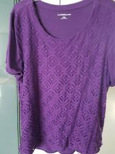 9262754782337b Croft   Barrow Purple Short Sleeve BlouseTop with lace overlay Size XL