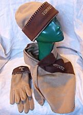 'TORRENTE' MATCHING GLOVES, HAT & SCARF LIGHT CARAMEL & CHOCOLATE COSY CHIC
