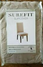 NEW Dining Chair Sure Fit Stretch Scroll Damask Slipcover taupe tan