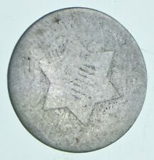 RARE Silver Trime Worn Date Three Cent Silver 3 Cent Early US Coin Look up *081