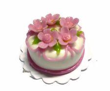 White Pink Flower Cake Dollhouse Miniatures Food Deco Bakery