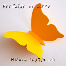 10 Farfalle 3D Arancione Chiaro di carta lavorata a mano 10x7,3 cm
