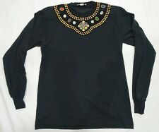 Gepetto Black Long Sleeve T Shirt with Gems and Gold Decoration Embroidered Med