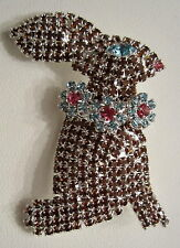 BROWN RHINESTONE EASTER BUNNY BROOCH  ALL STONES PRONG SET  BEAUTIFUL!!