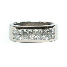 Certificado 1.60 ct princesa diamante anillo de boda hombre dos filas en Platino