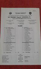 2006 DINAMO ZAGREB V Arsenal teamsheet Champions League