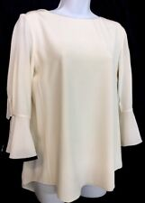 10878c391e14d Chloe Blouse Seedpearl Beige Silk Long Sleeve Black Trim Cuff Size 36