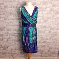 Per Una M&S Multicolour Dress Purple Blue Wrap Style Stretch Sleeveless Size 14