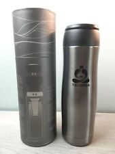 Starbucks Teavana Grey Stainless Steel Travel Mug Tumbler Silver 16oz Lid