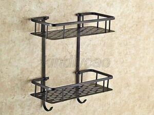 2 Layer Shower Caddy Bathroom Wall Storage Rack Shelf Organiser Basket Kba530
