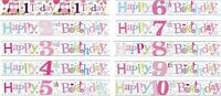BIRTHDAY BANNERS KIDS AGES 1 2 3 4 5 6 7 8 9 10 GIRLS PINK DECORATIONS (SE)