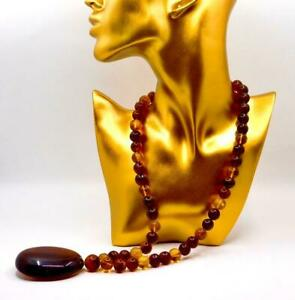 Amazing Natural Burmite Amber Necklace / Known as the oldest amber in the world