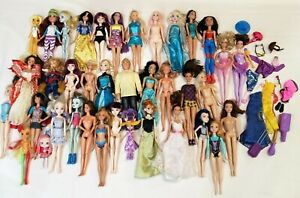 Huge Mattel Doll Lot Barbie, Monster High, Princess, Disney Dolls Lot