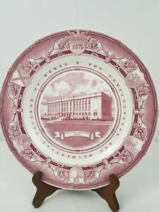 """Wedgwood Texas A&M Chemistry Building 10.25"""" Plate Mulberry England Pink/Red"""