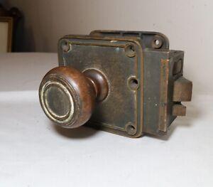 antique vintage industrial Corbin complete bronze door assembly knob hardware