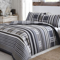Duvet Set Rhodes Charcoal Reversible Printed Check. Single Double or King Size
