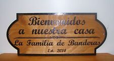 Personalized wood sign  Spanish Welcome To Our Home Sign.Laser engraved.GIFT.