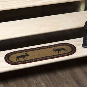"VHC Brands Rustic 8.5""x27"" Moose Stair Tread Tan Stenciled Jute Oval Floor Decor"