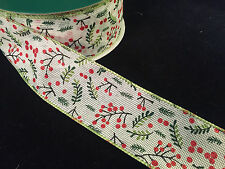 """50 Yards! Christmas Holly Berry  Wired Ribbon  2.5"""" Wide Wholesale Lot Bulk"""