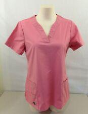 Crocs Women's Pink V Neck Short Sleeve Medical Scrub Top Size Medium