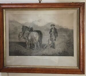 """1785 print """"robert burns turning a mouse out  its nest with a plough"""" maple fram"""