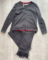 Seasalt Merino Wool Blend Cardigan Size 12 Long Sleeve Charcoal Grey Button Down