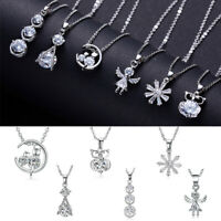 Charm 925 Silver Crystal Zircon Necklace Pendant Choker Chain Women Jewelry