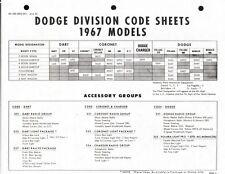 1967 Dodge Factory Order Codes & Options List Dart Coronet R/T 500 Charger Hemi
