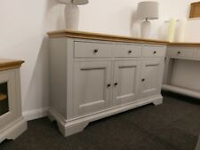 Eton Soft Grey & Oak Large Sideboard / 3 Door 3 Drawer Cupboard / Cabinet